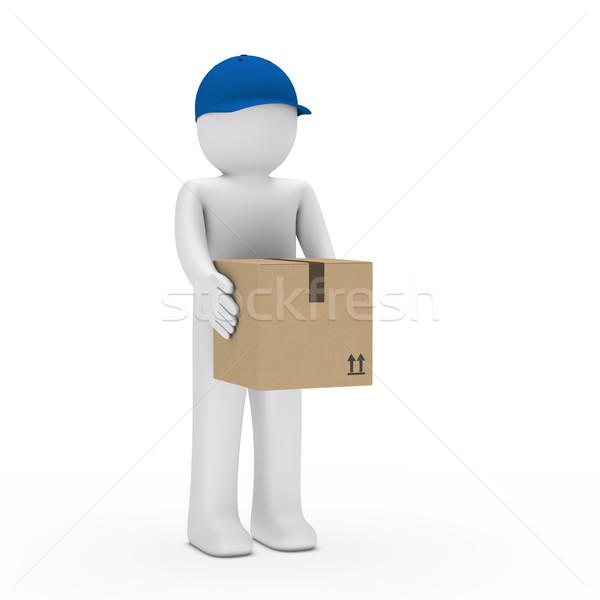 Homem marrom pacote azul boné manter Foto stock © dariusl