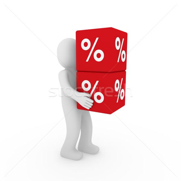 3d human sale cube Stock photo © dariusl