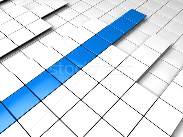 Foto stock: 3D · cubo · azul · branco · sucesso · gráfico