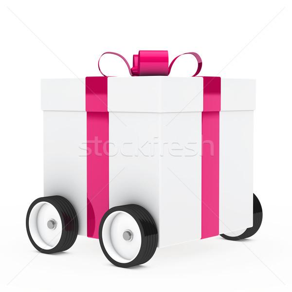 Noel hediye araç hediye kutusu pembe beyaz Stok fotoğraf © dariusl