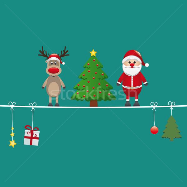 santa reindeer tree twine green background Stock photo © dariusl