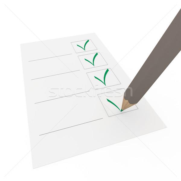 Stock photo: 3d check pencil green