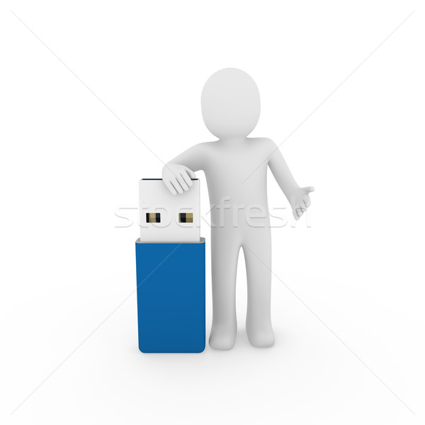 Сток-фото: человека · usb · Stick · синий · Plug