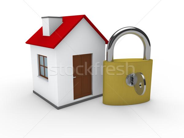 3D domu domu kłódki czerwony bezpieczeństwa Zdjęcia stock © dariusl