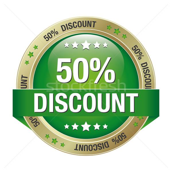 50 discount green gold button Stock photo © dariusl