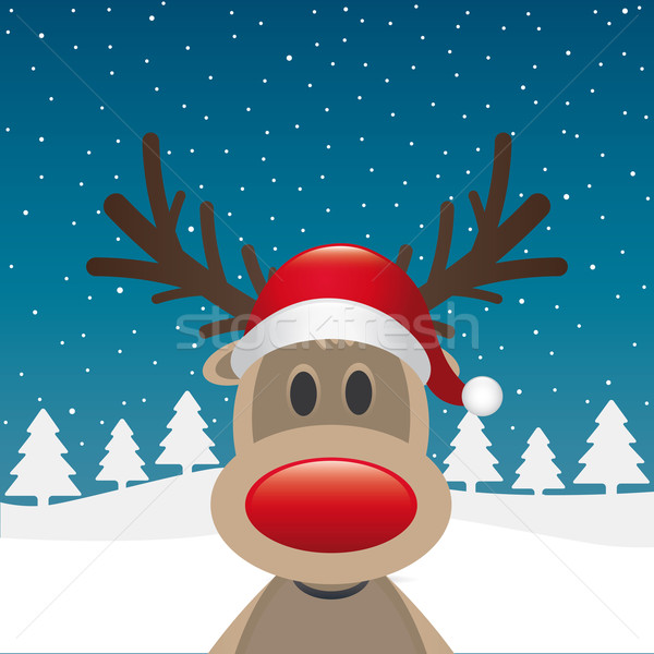 rudolph reindeer red nose and hat Stock photo © dariusl