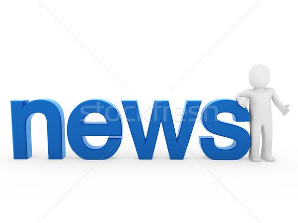 3d ember hírek olvas kék izolált fehér Stock fotó © dariusl