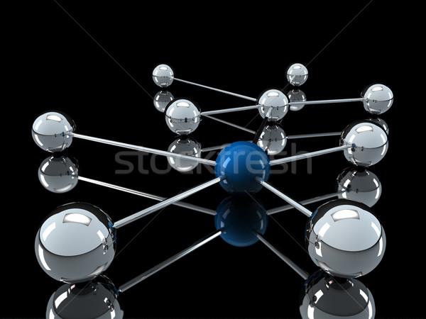 3D クロム 青 ネットワーク ボール 通信 ストックフォト © dariusl