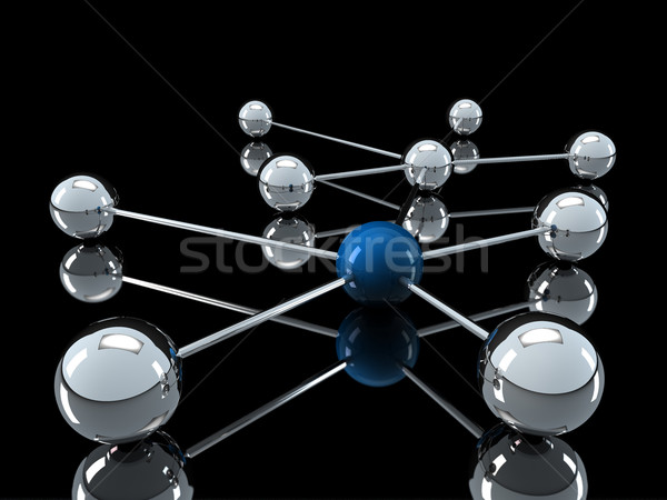 3D chrom blau Netzwerk Ball Kommunikation Stock foto © dariusl