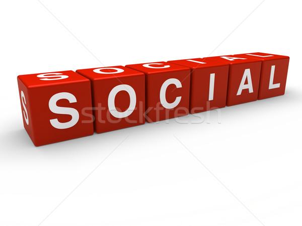 3D rosso sociale cubo social network comunicazione Foto d'archivio © dariusl