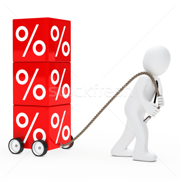 man draws sale cube Stock photo © dariusl