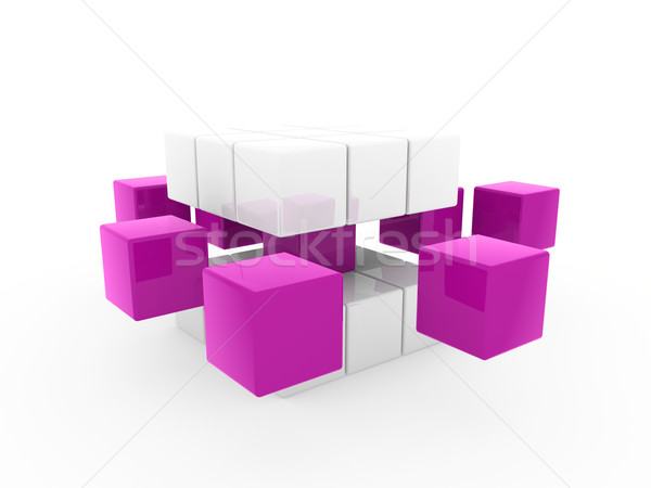 3D kubus paars witte vierkante business Stockfoto © dariusl