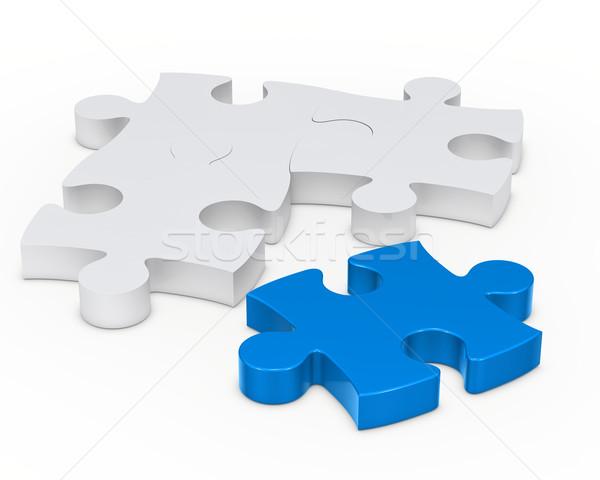 Foto stock: Rompecabezas · signo · uno · azul · fuera · color