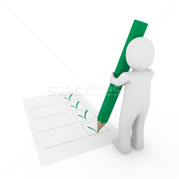 Stock photo: 3d human check paper pencil