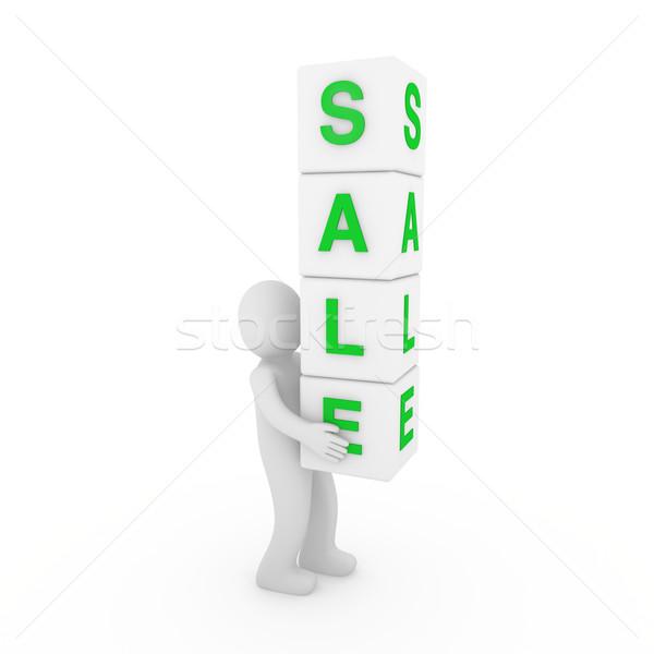Сток-фото: 3D · продажи · куб · красный · белый · человека