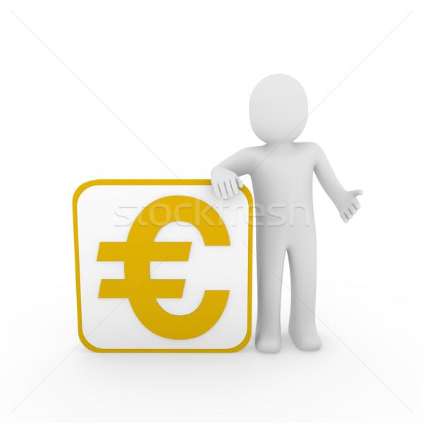 Stockfoto: 3d · man · euro · goud · kubus · menselijke · geld