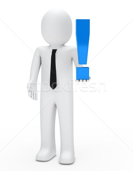 Férfi tart felkiáltójel üzletember kék kéz Stock fotó © dariusl