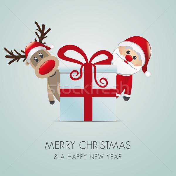 ストックフォト: トナカイ · サンタクロース · クリスマス · ギフトボックス · 赤 · ボックス