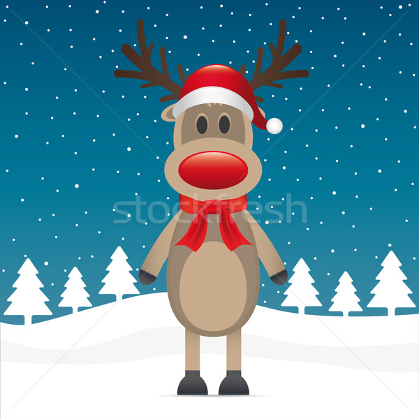 rudolph reindeer red nose scarf hat Stock photo © dariusl