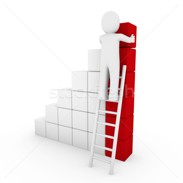 3d human cube ladder red  Stock photo © dariusl
