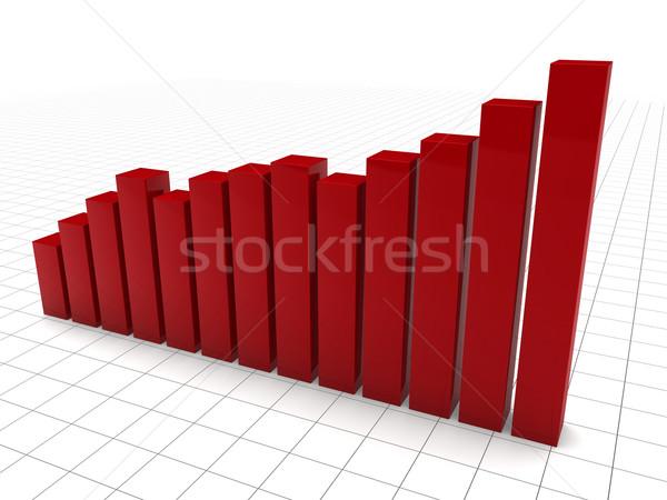 3D grafico rosso crescita grafico successo Foto d'archivio © dariusl