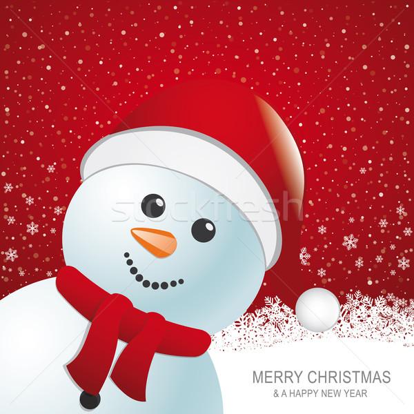 Kardan adam kırmızı şapka kar kar tanesi arka plan Stok fotoğraf © dariusl
