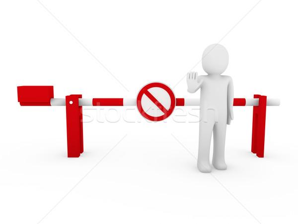 3d human stop barrier red ban Stock photo © dariusl