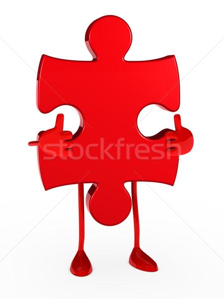 Rompecabezas figura rojo blanco negocios Foto stock © dariusl