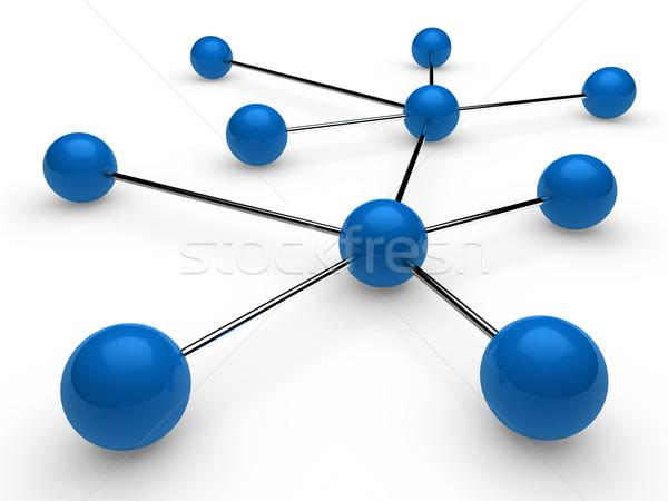 3d blue chrome network Stock photo © dariusl