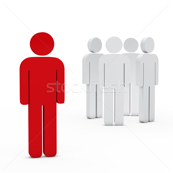 équipe commerciale leader rouge 3D blanche succès Photo stock © dariusl