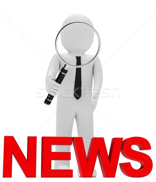 businessman magnifying glass news Stock photo © dariusl