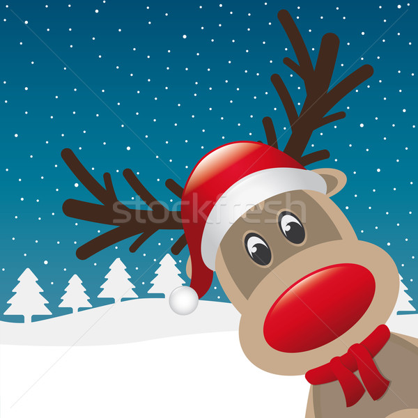 reindeer red nose santa claus hat Stock photo © dariusl