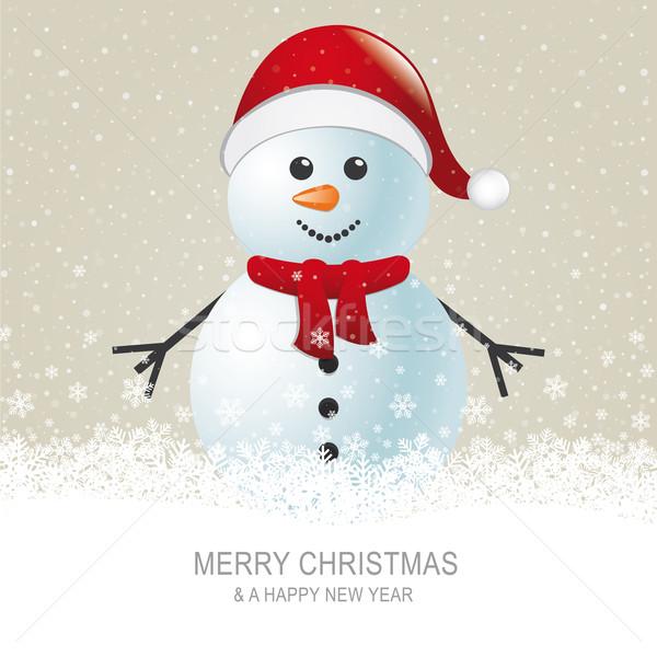 Kardan adam eşarp şapka kahverengi kar kırmızı Stok fotoğraf © dariusl