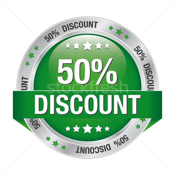 50 discount green silver button Stock photo © dariusl