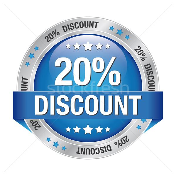 20 discount blue silver button Stock photo © dariusl