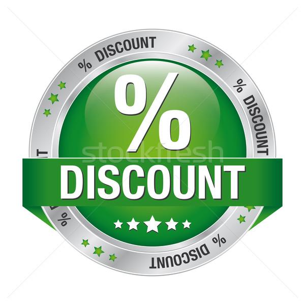 percent discount green silver button Stock photo © dariusl