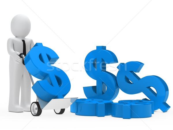 Stok fotoğraf: Işadamı · dolar · el · kamyon · mavi