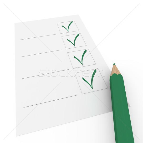 Stock fotó: 3D · csekk · doboz · zöld · ceruza · toll