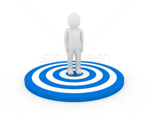 3d man hedef insan mavi iş Stok fotoğraf © dariusl