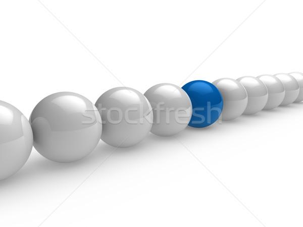 Ball 3d bleu blanche ligne réseau sphère Photo stock © dariusl