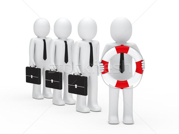 3d business men briefcase and lifebelt Stock photo © dariusl