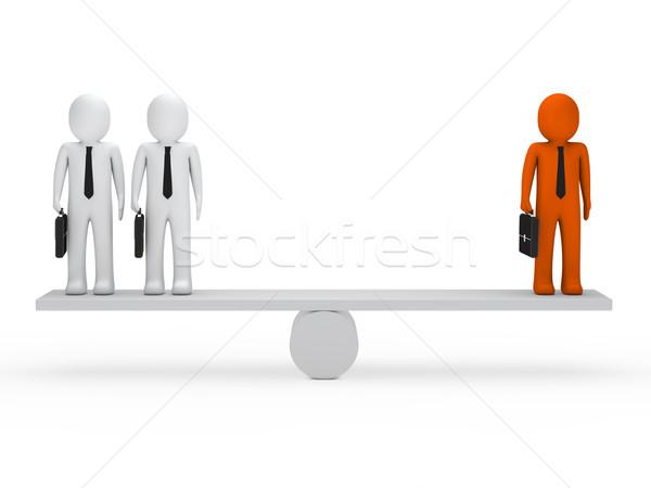 Uomini d'affari equilibrio altalena valigetta arancione lavoro Foto d'archivio © dariusl