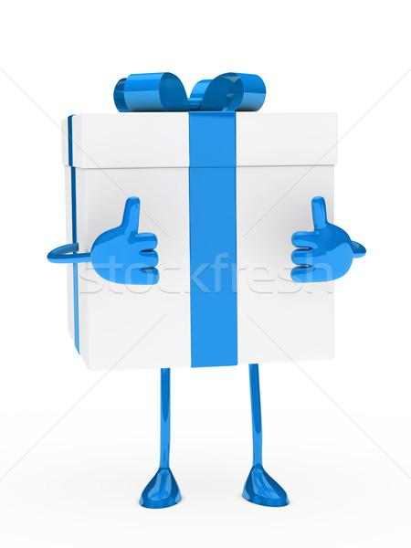Azul blanco caja de regalo figura Navidad regalo Foto stock © dariusl
