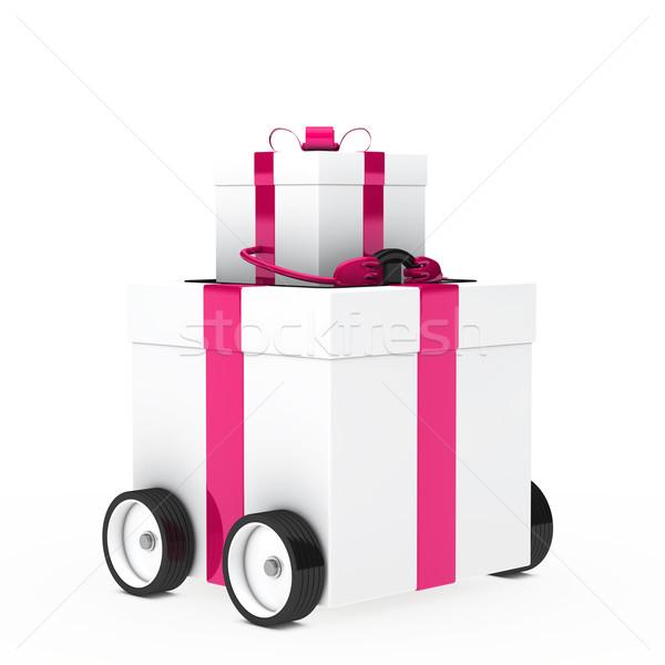 Noel hediye araç pembe beyaz hediye kutusu Stok fotoğraf © dariusl