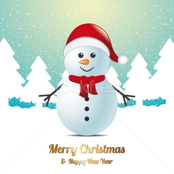 Snowman zimą śniegu krajobraz niebieski biały Zdjęcia stock © dariusl