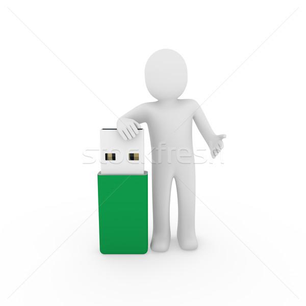 Hombre usb palo verde plug Foto stock © dariusl