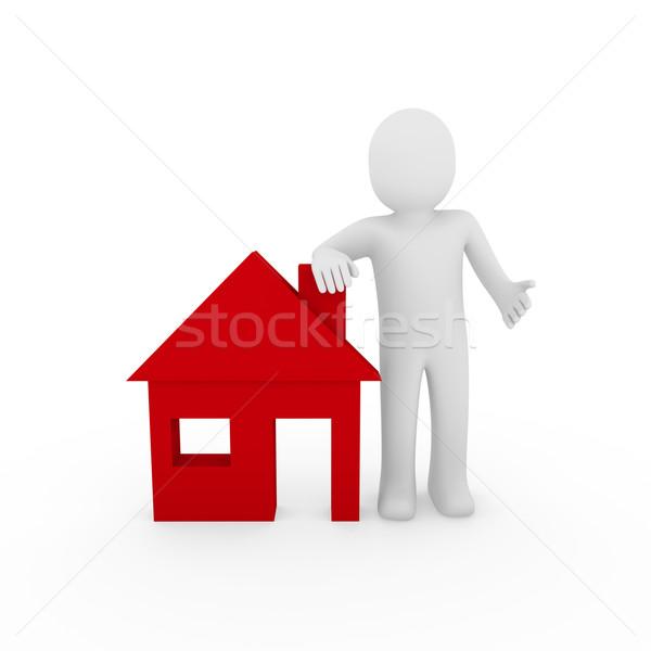 3d man maison rouge maison mettre Photo stock © dariusl