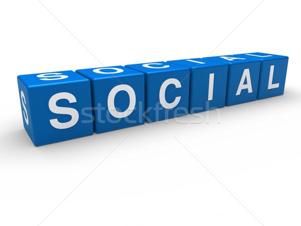 Stockfoto: 3D · Blauw · sociale · kubus · communicatie