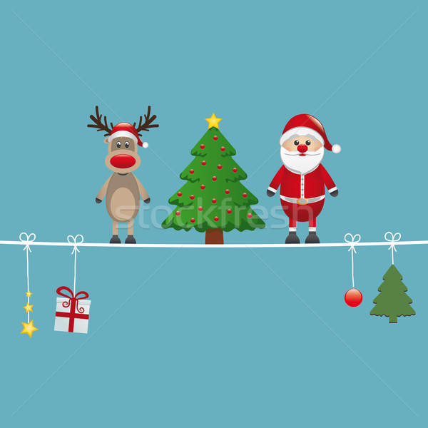 santa reindeer tree twine blue background Stock photo © dariusl