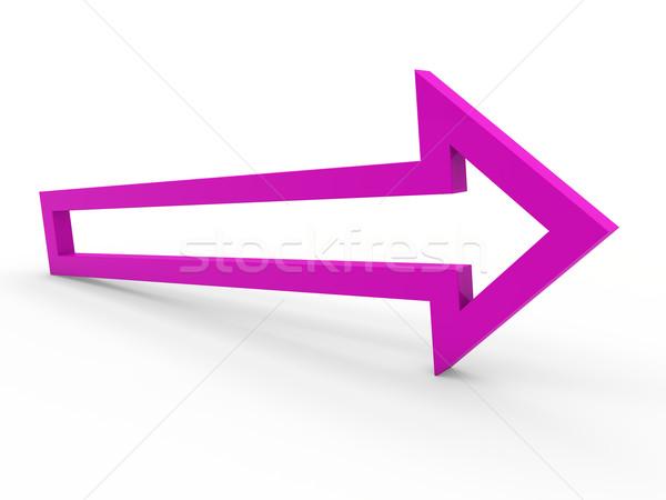 Photo stock: 3D · flèche · pourpre · façon · up · icône